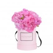 Розовая коробка с пионами