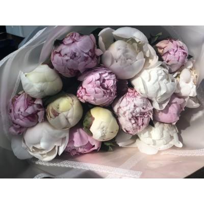 Микс из 15 белых и розовых пионов